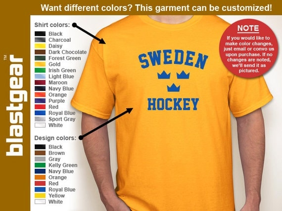 Sweden Hockey Tre Kronor T-shirt — Any color/Any size - Adult S, M, L, XL, 2XL, 3XL, 4XL, 5XL  Youth S, M, L, XL