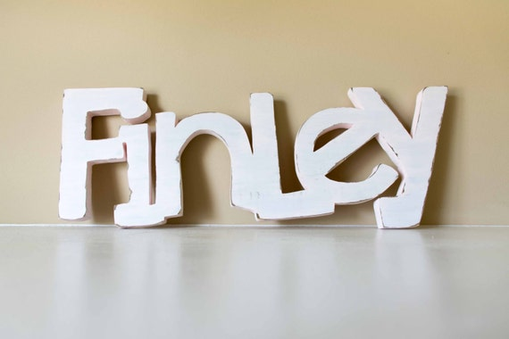 Wooden Baby Name Sign, Over the Crib Decor, Nursery, Baby Room, Wood Letters