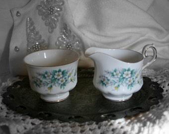 Queen Anne Bone China Cream and Sugar Set, Vintage Queen Anne China Set.
