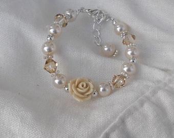 Baby Bracelets-FREE SHIPPING-Newborn Jewelry-Flower Baby Bracelet