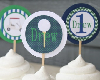 PREPPY GOLF Happy Birthday or Baby Shower Cupcake Toppers set of 12 {One Dozen} - Party Packs Available