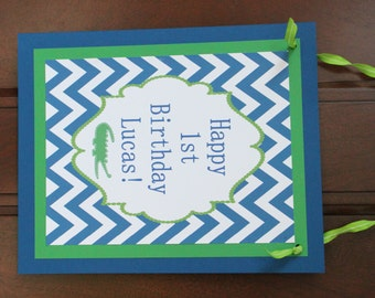 PREPPY CHEVRON ALLIGATOR Birthday or Baby Shower Door or Welcome Sign Blue Green - Party Packs Available