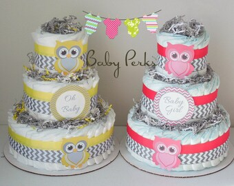 Yellow and Grey  Owl Diaper Cake, Baby Shower Decorations , Grey and yellow Baby Shower