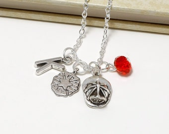 Personalized Firefighter Necklace with Your Initial and Birthstone
