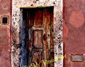 "Old wooden door with rust color wall travel art photography street in Mexico San Miguel de Allende travel photo download 9 3/4"" x 12 3/4"""