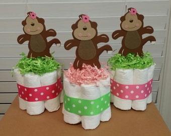 3 Monkey safari girl mini diaper cakes pink and green