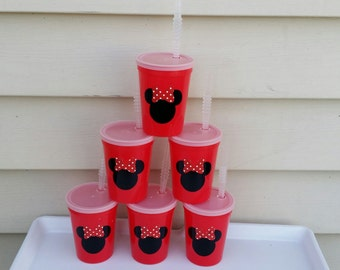 6 Minnie Mouse Red cups party favors