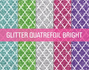 80% OFF Sale Glitter Digital Paper Glitter Moroccan Quatrefoil Textures Printable Paper Pack Bright
