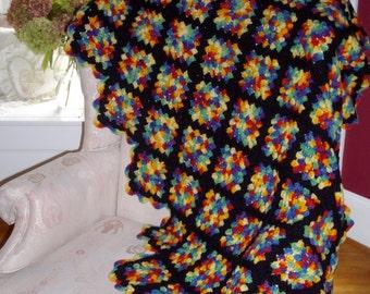 Vintage Granny Square Throw Scalloped Edge Black Multi Colors