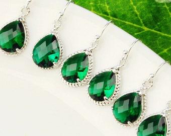 Emerald Green Earrings SET OF 4 - 8% OFF Emerald Bridesmaid Earrings - Silver Green Drop Earrings - Wedding Jewelry - Bridesmaid Jewelry Set
