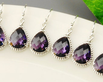 Amethyst Bridesmaid Earrings SET OF 4 - 8% OFF Silver Purple Bridesmaid Jewelry Set - Dark Purple Crystal Drop Earrings - Wedding Jewelry