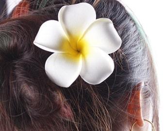 Hawaiian Plumeria Frangipani Flower Hair Clip