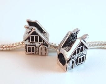 3 Beads - House Building Home Silver European Bead Charm E0946