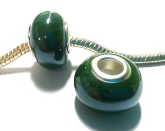 3 Beads - Swamp Green Pearl Porcelain Silver European Bead Charm E0235
