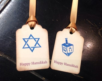 Hanukkah personalized gift tags- Star of David - dreidel- Hanukkah tags-set 12