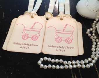 Customized Pink Carriage Stroller Pram Favor Thank You Gift tags-set of 12