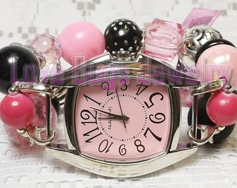 Shabby Chic Pink & Black Beaded Interchangeable Watch Band, Chunky Beaded Watch Band