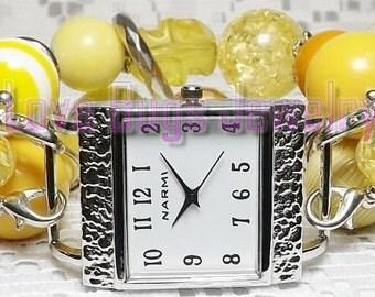 Lemon Supreme - Chunky Beaded Interchangeable Watch Band - Yellow, Dark Yellow and Light Yellow Chunky Beaded Interchangeable Watch Band