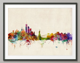 New York City Skyline, NYC Cityscape Art Print (540)