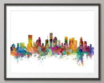 Houston Skyline, Houston Texas Cityscape Art Print (1208)