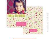 Christmas Card Photoshop Template - Funky Stars - E111