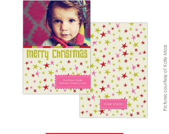 Christmas Card Photoshop Template - Funky Stars - E111