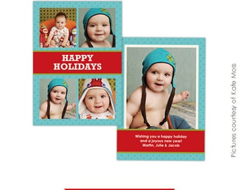 INSTANT DOWNLOAD - Holiday Card Photoshop Template - Fun Holidays -  E181