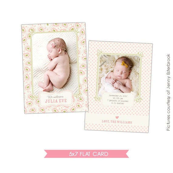 INSTANT DOWNLOAD - Birth announcement photoshop template - Eve - E404