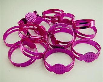 Adjustable Ring Blanks, Pink Electra Plated, Ring Base,  mo022