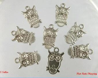 8 - Owl Charms, Plastic Owl Charm, Acrylic Owl Charms,  Silver Charms, 23 x 14 mm  pa105