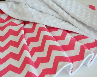 Baby Blanket, Girl Blanket, Chevron baby blanket, Minky Blanket, pink and white blanket,