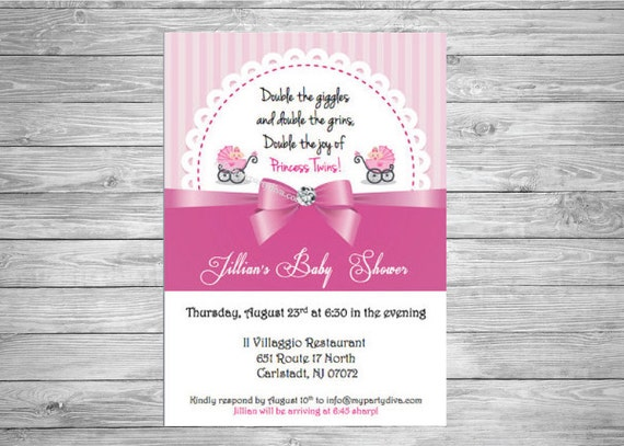Set of 25 Princess Twins Baby Shower Invitations.