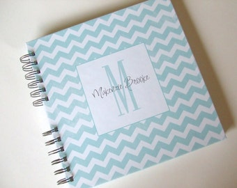 Baby Book |  Baby Memory Album | Blue Chevron Wire Bound Baby Memory Book