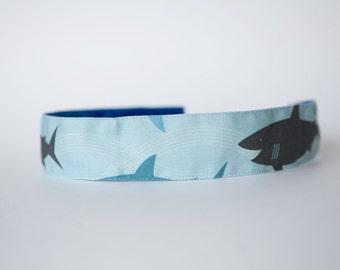"""No Slip Headband Spoonflower Fabric Happy Sharks 1.5"""""""