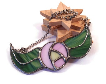 Stained Glass Jewelry Statement Necklace Rose Necklace Glass Metal Jewelry Handmade Jewelry Bib Necklace Flower Jewelry  Folk art Jewelry