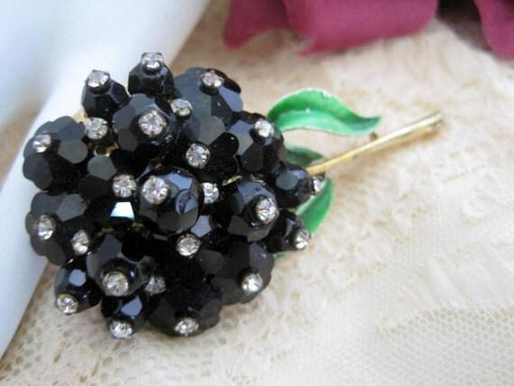 Black Crystal Brooch - Rose Montee Stones  - Long Stem Pin