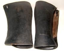 WWI Black Leather Cavalry Officers Gaiters Vintage Horse Riding Vintage Equestrian Vintage Gaiters Military Gaiters Vintage Puttees