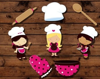 Chef cupcake toppers, baking party decor, chef party toppers, baking party, chef cake decorations, girl birthday, cooking party