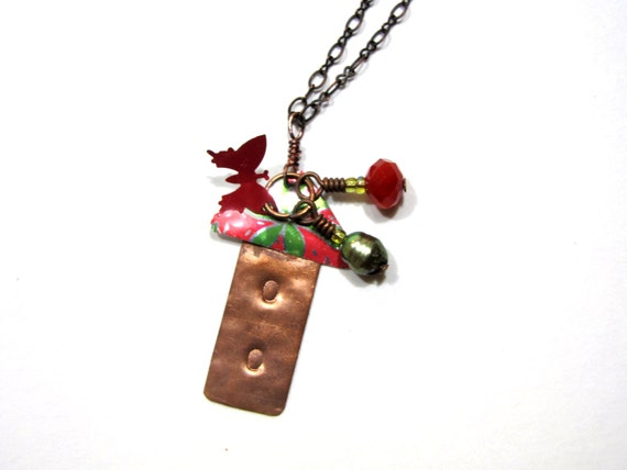 Handmade Birdhouse Necklace with Charms - Recycled Copper and Soda Cans