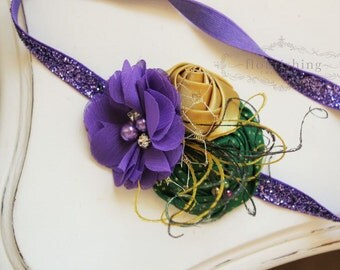 Mardi Gras Inspired headband, Gold Purple and Green headband, newborn headbands, flower headbands, purple headbands, photography prop