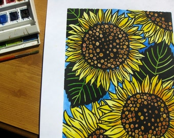 Original linocut print, Sunflowers, open edition, black ink, hand colored