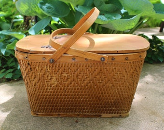 Antique Picnic Basket- Large Vintage Wicker Basket with Wood Lid- Woven Wicker and Twine- 1940s
