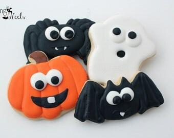 Halloween Cookies, Baby Halloween Cookies, Ghost, Spider, Pumpkin, Jack O Lantern, Bat Cookies, Baby Halloween Creatures,