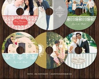 Vintage Style CD/DVD Holiday Label Templates - Pk6