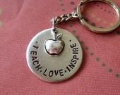 Teach Love Inspire hand stamped keychain mens gift teacher