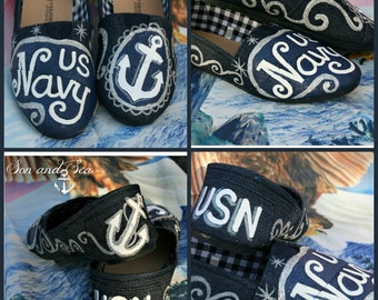 US Navy pride handpainted size 6 shoes by Son and Sea