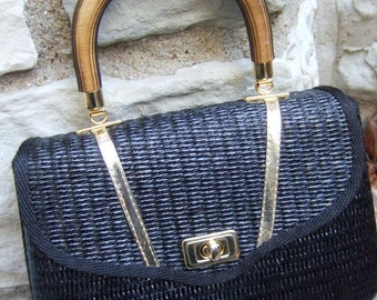 1970s Italian Black & Gold Wicker Handbag