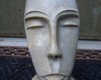 Avant Garde Modernist Style Ceramic Face Statue c 1950s