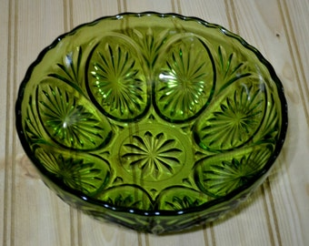 Vintage Green Cut Glass Bowl Serving Dish Anchor Hocking