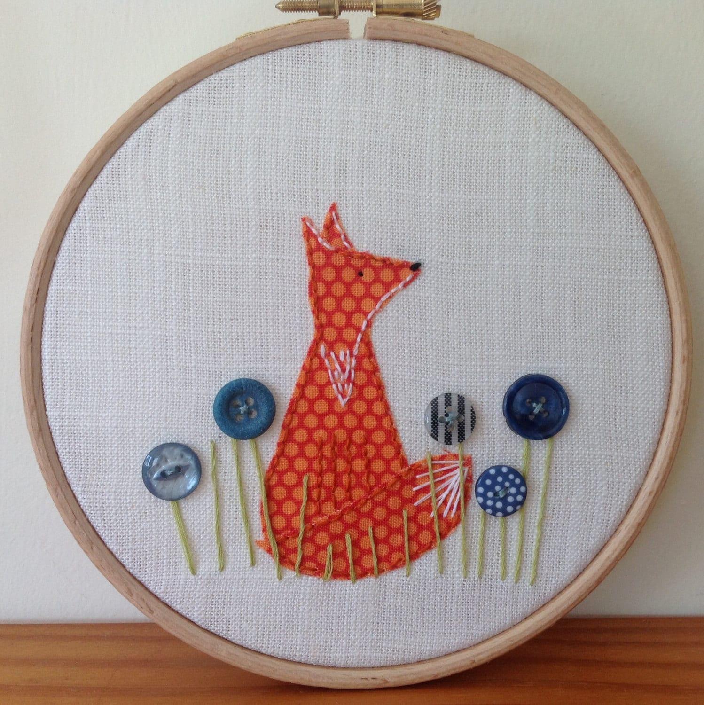 Fabric fox hoop art appliqué embroidery by boxroombazaar